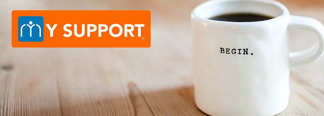 MYSUPPORT logo overlaid on a closeup of a whit mug on a grain table with the word BEGIN on it